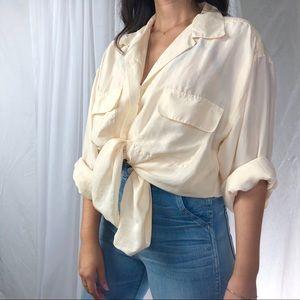 VINTAGE/ ivory silk blouse